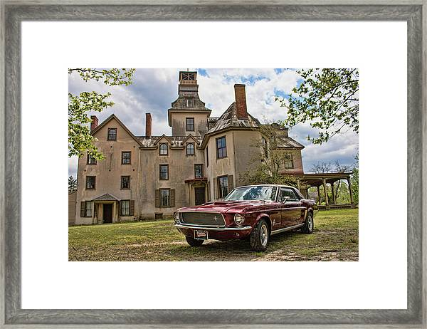 1967 Mustang At The Mansion Framed Print