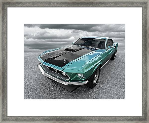 1969 Green 428 Mach 1 Cobra Jet Ford Mustang Framed Print