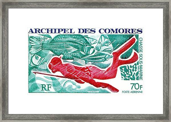 1972 Comoro Islands Spearfishing Postage Stamp Framed Print