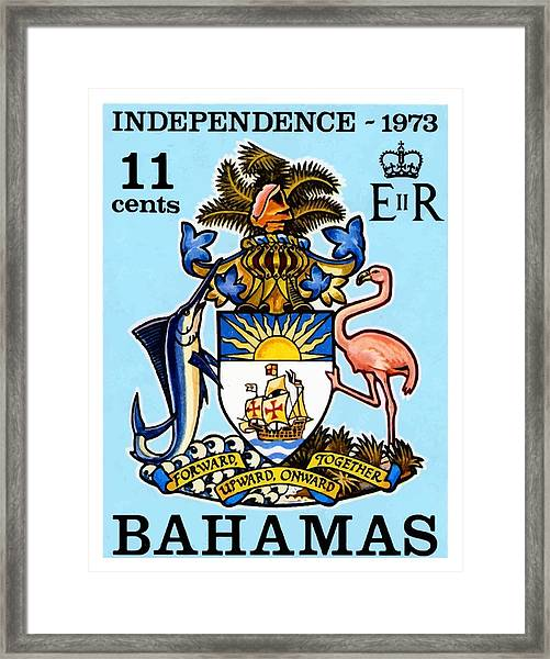 1973 Bahamas Coat Of Arms Postage Stamp Framed Print