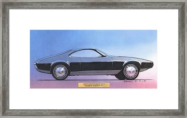 1973 Duster  Plymouth  Vintage Styling Design Concept Sketch Framed Print by John Samsen