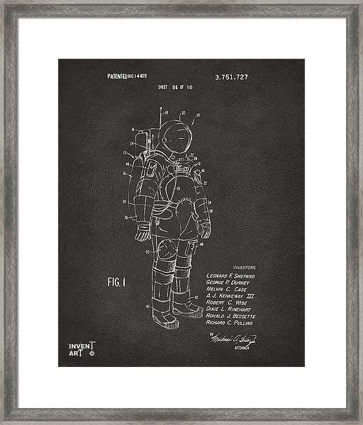 1973 Space Suit Patent Inventors Artwork - Gray Framed Print
