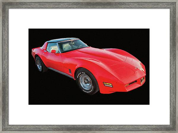 1977 Chevy Corvette T Tops Digital Oil Framed Print