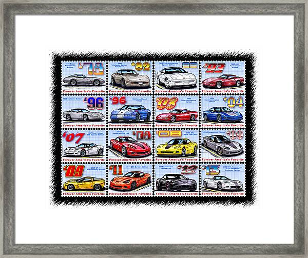 1978 - 2013 Special Edition Corvette Postage Stamps Framed Print