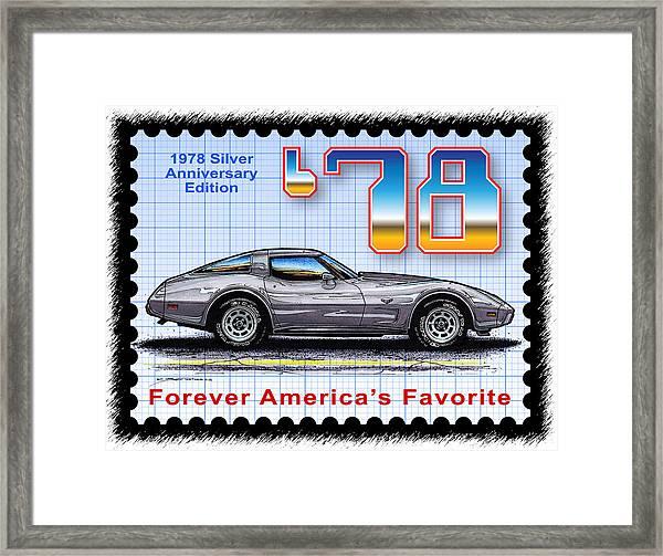 1978 Silver Anniversary Edition Corvette Framed Print