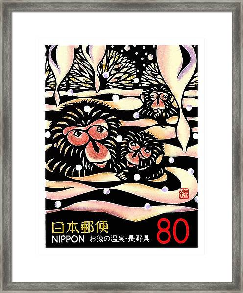 1989 Japan Snow Monkeys Postage Stamp Framed Print