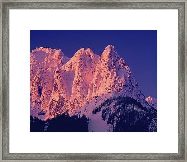 1m4503-a Three Peaks Of Mt. Index At Sunrise Framed Print