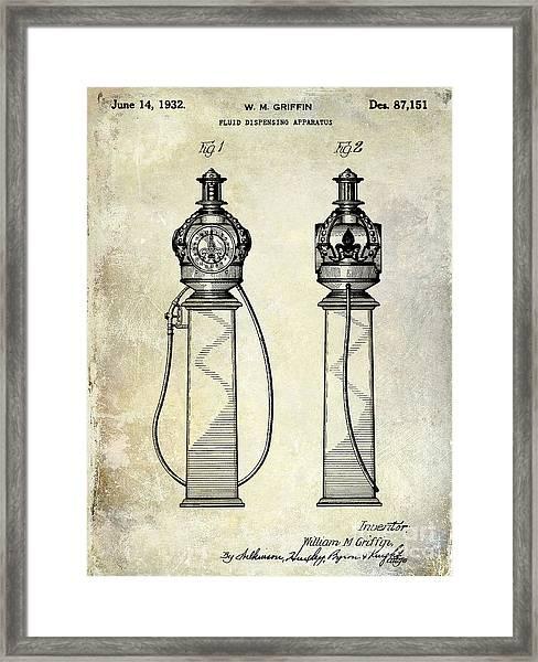 1932 Gas Pump Patent  Framed Print