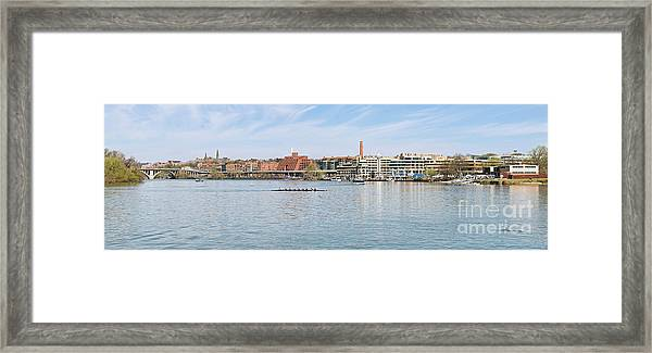 Panoramic Spring View Of The Georgetown Waterfront In Washington Dc Cm1 Framed Print