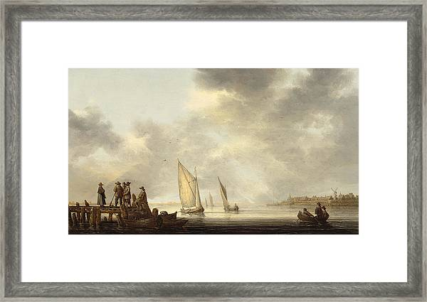 A Pier In Dordrecht Harbor Framed Print