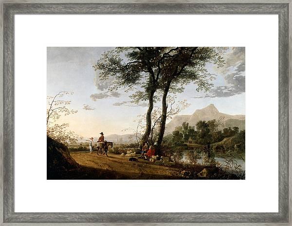 A Road Near A River  Framed Print
