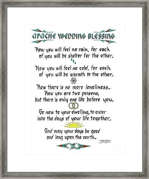 Apache Wedding Blessing Framed Print