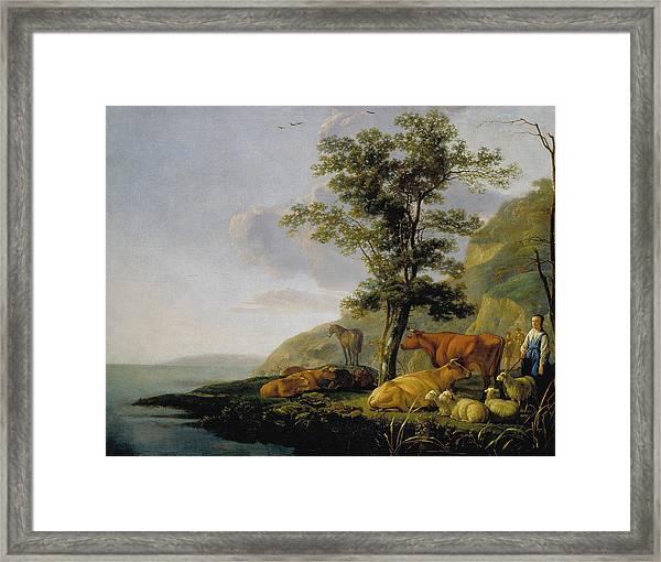 Cattle Near A River Framed Print