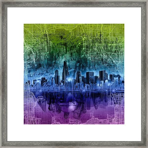 Chicago Skyline Abstract Framed Print
