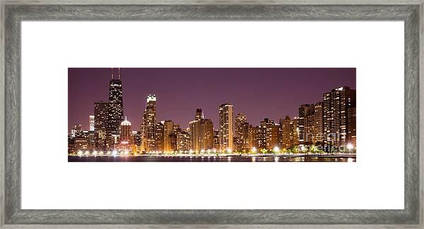 Chicago Skyline At Night Photo Framed Print