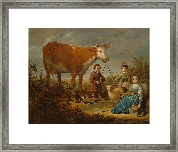 Children And A Cow Framed Print