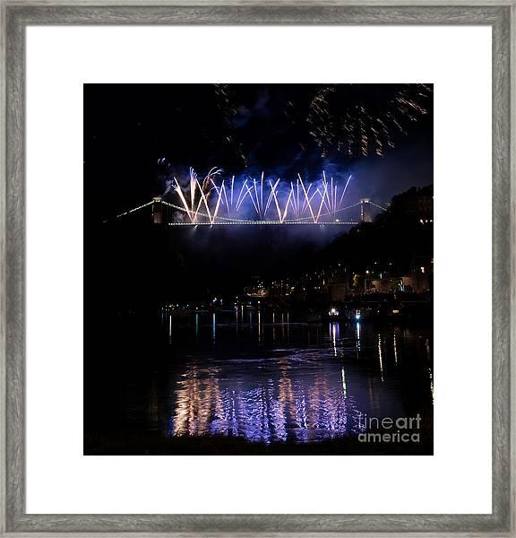 Clifton Suspension Bridge Fireworks Framed Print