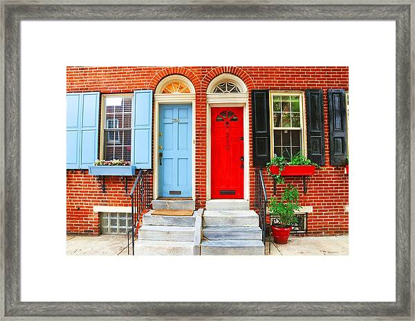 Colonial Doors Framed Print by Andrew Dinh