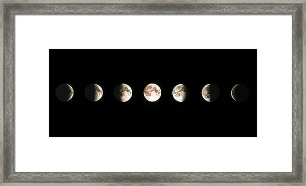 Composite Image Of The Phases Of The Moon Framed Print