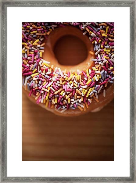 Donut And Sprinkles Framed Print