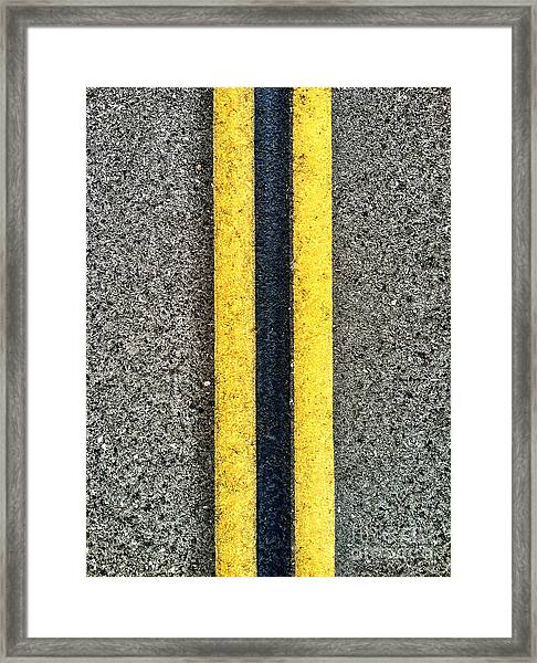 Double Yellow Road Lines Framed Print