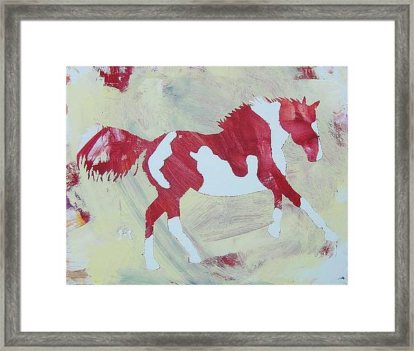 Framed Print featuring the painting Galloping Pinto by Candace Shrope