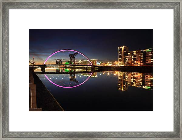 Glasgow Clyde Arc Bridge At Twilight Framed Print