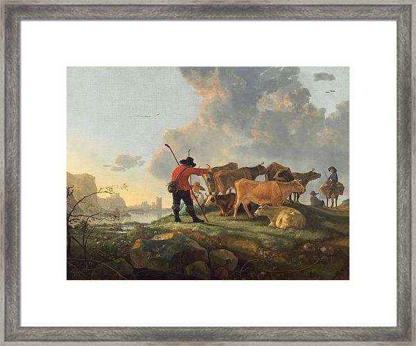 Herdsmen Tending Cattle Framed Print