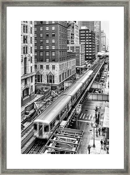 Historic Chicago El Train Black And White Framed Print