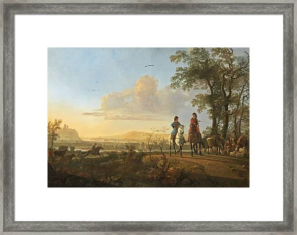 Horsemen And Herdsmen With Cattle Framed Print