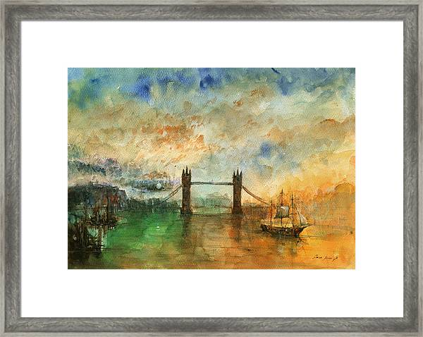 London Watercolor Painting Framed Print
