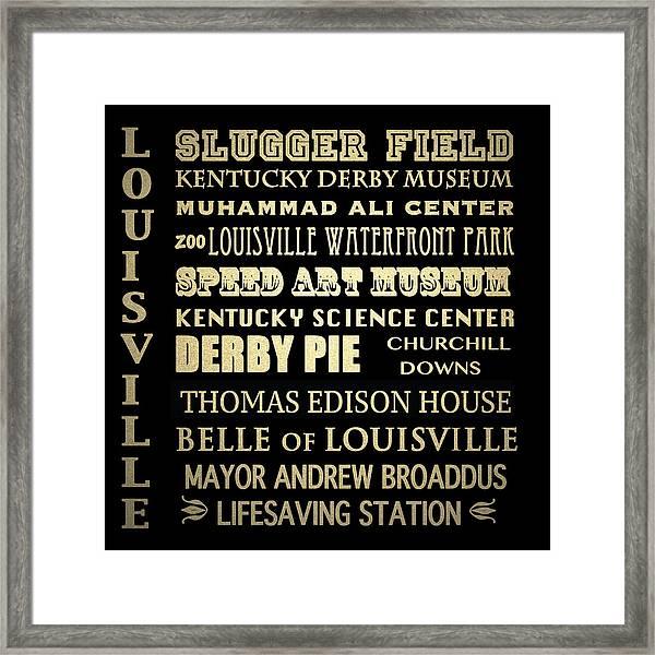 Louisville Famous Landmarks Framed Print