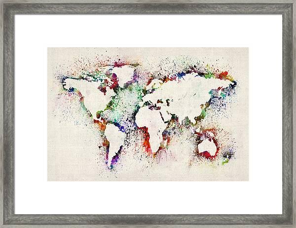 Map Of The World Paint Splashes Framed Print