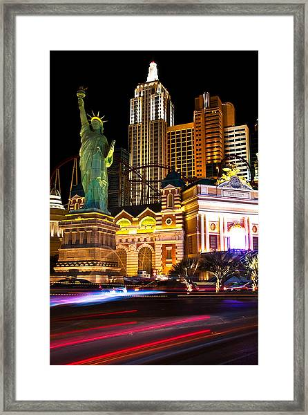 New York New York Casino Framed Print by James Marvin Phelps