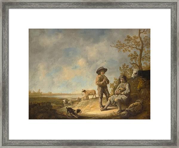 Piping Shepherds Framed Print