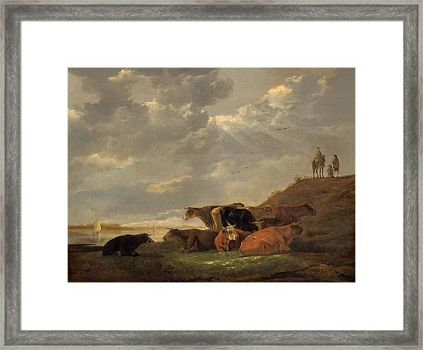 River Landscape With Cows Framed Print