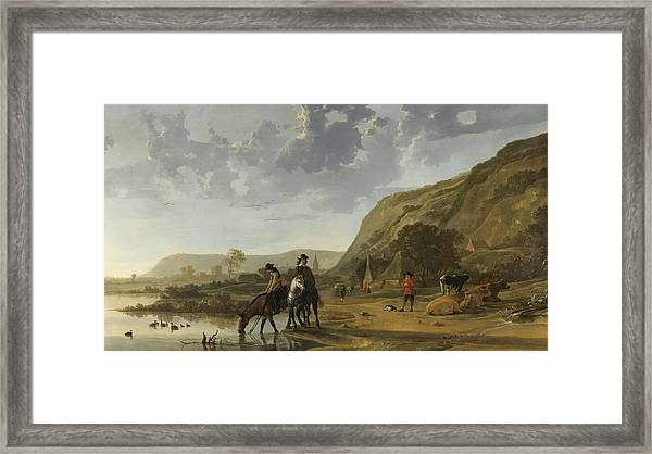 River Landscape With Riders Framed Print