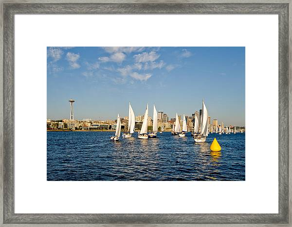 Rounding The Pylon Framed Print by Tom Dowd