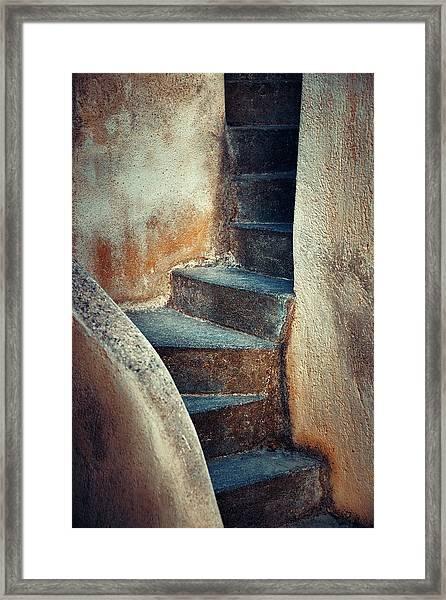 Santorini Island Stairs Framed Print by Songquan Deng