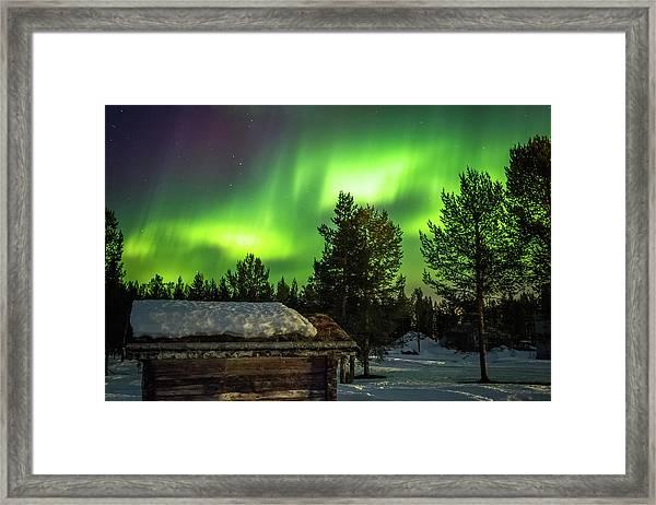 Sapmi Hut Under The Northern Lights Karasjok Norway Framed Print