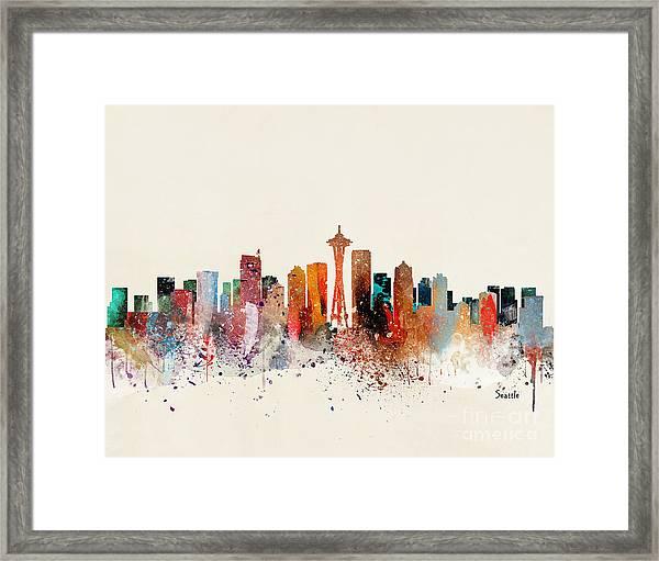Seattle Skyline Framed Print by Bri Buckley
