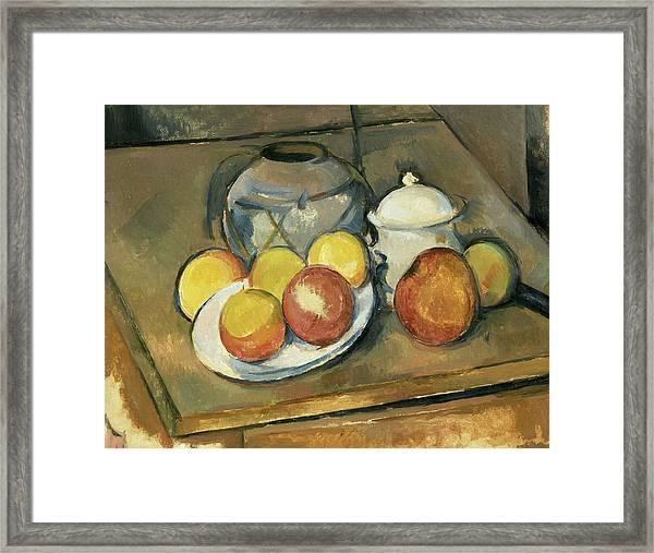 Straw-trimmed Vase, Sugar Bowl And Apples Framed Print