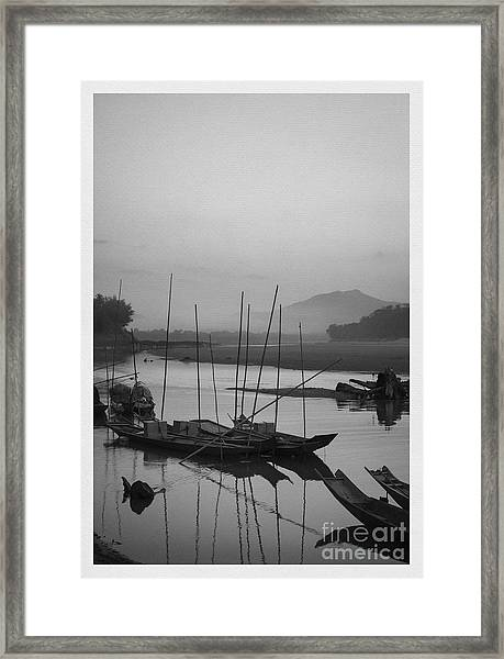sunset at Mae Khong river Framed Print