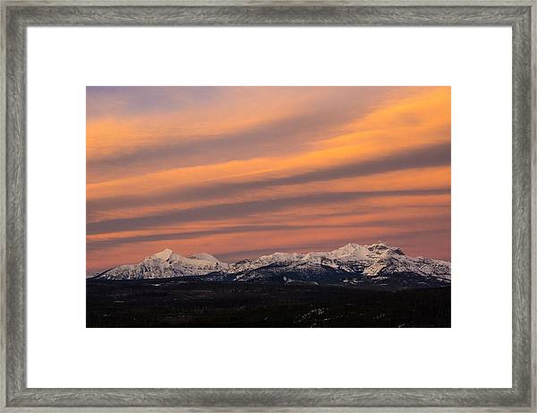 Sunset In Glacier National Park Framed Print