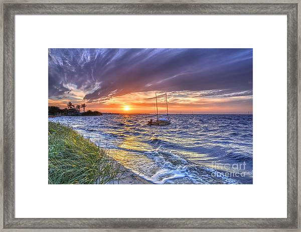 Sunset Sail Framed Print by Rick Mann