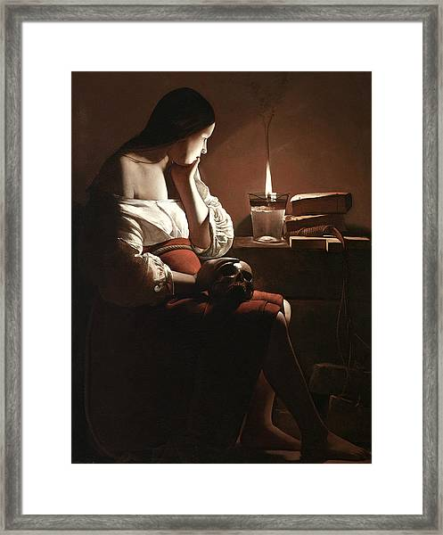 The Magdalen With The Smoking Flame Framed Print