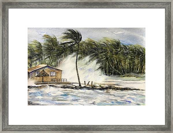 Framed Print featuring the painting The Storm by Katerina Kovatcheva
