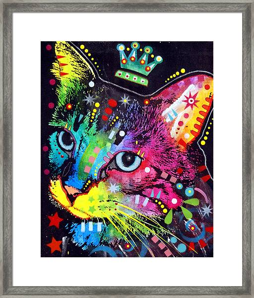 Thinking Cat Crowned Framed Print