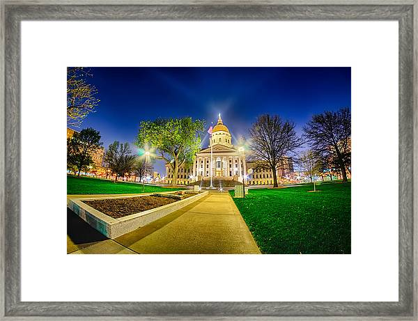 Topeka Kansas Downtown At Night Framed Print