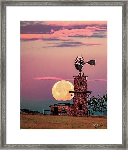 Windmill At Moonset Framed Print